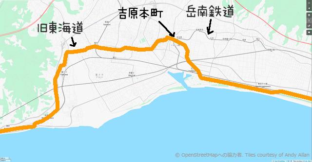 旧東海道をオレンジ色の線で示した(OpenStreetMapより。加筆。 (c) OpenStreetMapへの協力者. Tiles courtesy of Andy Allan)