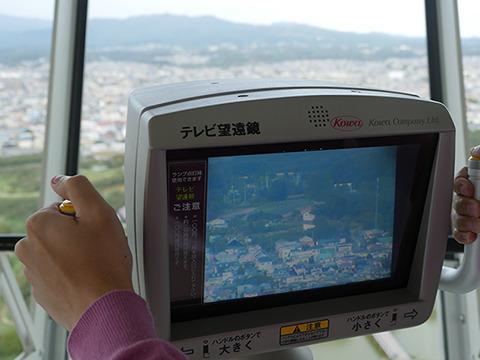 五稜郭タワーにはテレビ望遠鏡がついている。残念ながら四稜郭は発見できず