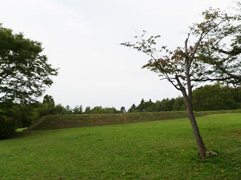 四稜郭は100×70×3m。見どころはひとつ、土塁に立って「こんなんで守れるのかなあ」と不安を味わう点である