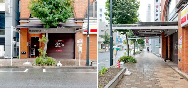 これも街路樹があってアプローチ感が低いが、横から見るのと正面からとで印象が違ってなかなかいい名古屋根だ。