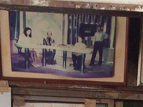 お店にかざられてたたこ判を生んだおばあちゃんテレビ出演の写真