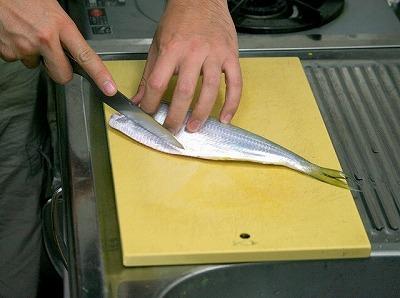 腹部は鱗が密集してガチガチに硬くなっている。スパッと切り落とし、内臓を取り除く。