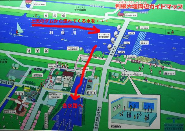 館内パネルより。取水口から取り出された水は様々な水路施設によって東京都、埼玉県、群馬県に農業・水道・工業・浄化用水を供給している。