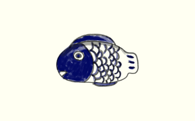 ダンスクの魚の形のお皿。オシャレかどうかと聞かれると、違う。