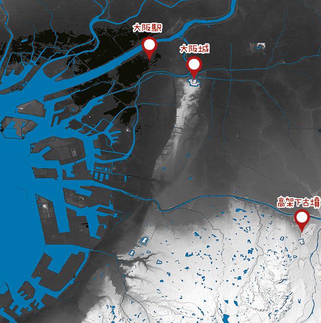 地形図で見るととても特徴的な場所に古墳地帯はある(国土地理院「基盤地図情報数値標高モデル」5mメッシュをSimpleDEMViewerで表示したものをキャプチャ・加筆加工)