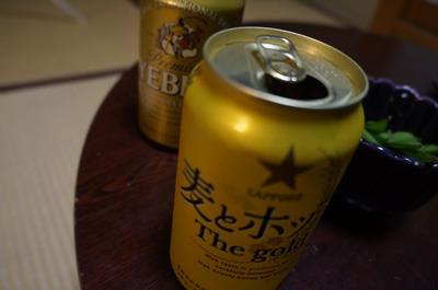 「スカッ」という重さまで減ったビールの奥に控える、まだ頼もしい重量感の缶ビール(中身は水)