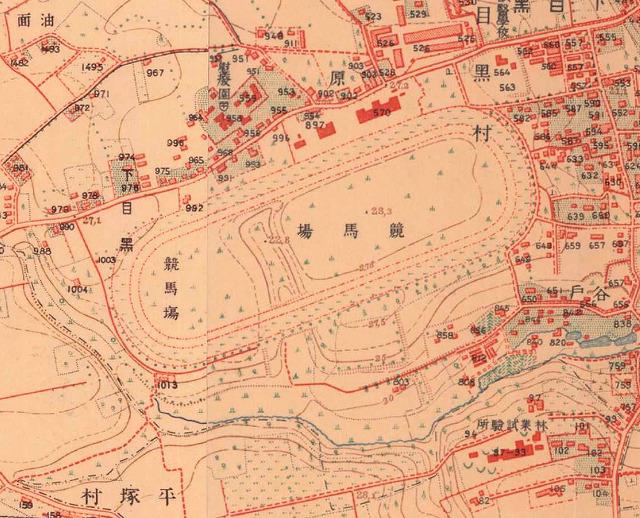 同じ範囲の1910年代の地図(iPhone アプリ「東京時層地図」大正5年-10年より)