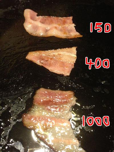 高くなるにつれて脂の量が激増。1000円ベーコンの、きらびやかなことよ…!