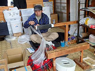 オーダーメイドの投網を作ってくれる、日本に数少ない職人さんがやっています。