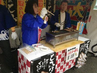 HATA-1グランプリ参加ブースでは「投票には割り箸を使ってくださーい」と説明が。