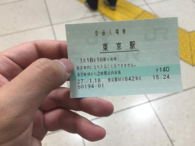 東海道新幹線のホームへは、入場券で入りましょう