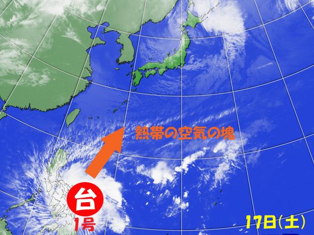 台風1号、崩れたあとも、熱帯の空気だけは北へ来る。