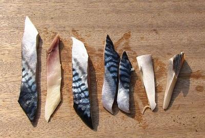 餌の塩サバは細長く刻んで、皮を丁寧に細かく縫うように紐に通す。ここで手を抜くとポロポロ落っこちてしまい、魚が食いつくたびに作り直しを強いられる。
