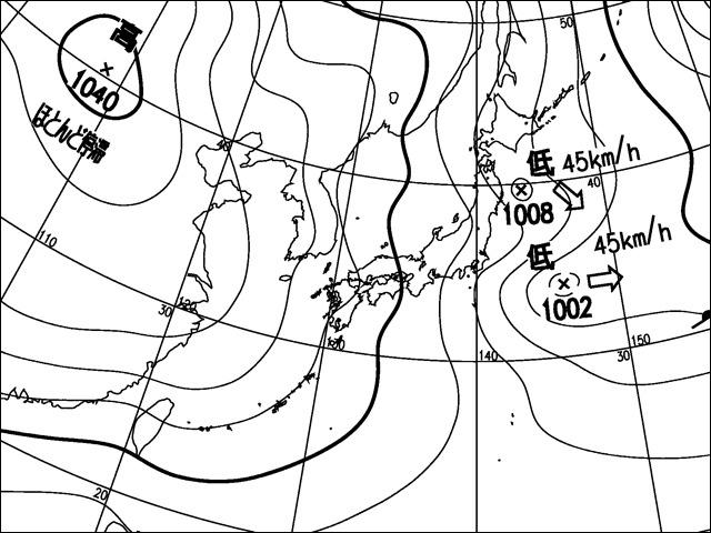 2012年2月18日正午。気象庁天気図。