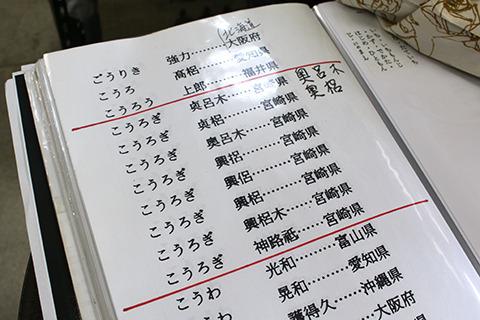 コオロギ姓の数々。