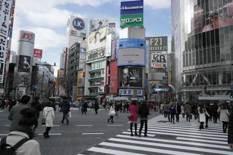 渋谷のスクランブル交差点に来た