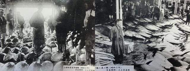 左から1929(昭和4)年、1930(昭和5)年の市場の様子