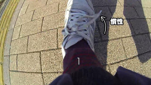 振り下ろした足は地面に着くと急に止まるので、慣性でヒモの先が前に振れる