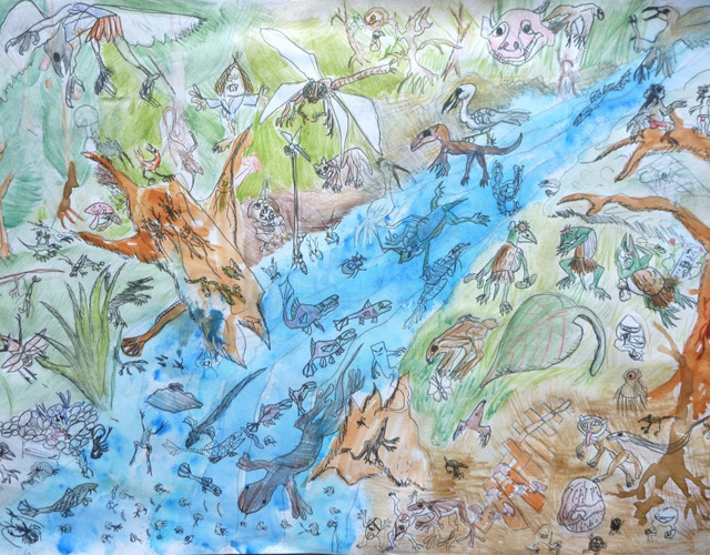 小学3年生のときに描いた絵。オオサンショウウオや魚、昆虫、プランクトン。河童や妖怪(水木しげる先生の大ファン)まで、大好きなもので埋め尽くされている。