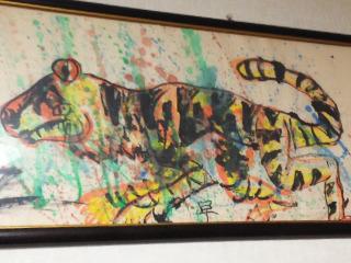 本物は迫力満点。1年生のときに描いた『トラ』。