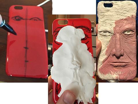 スマホケースを用意し、紙粘土を貼り付け、色を塗る。