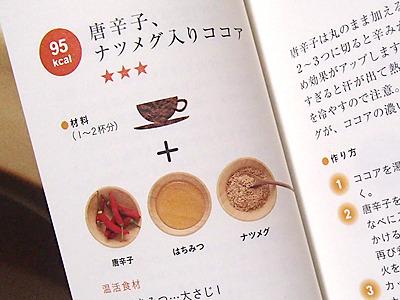 本には純ココアにはちみつで甘さをつけて、唐辛子とナツメグを使ったレシピがでていました。