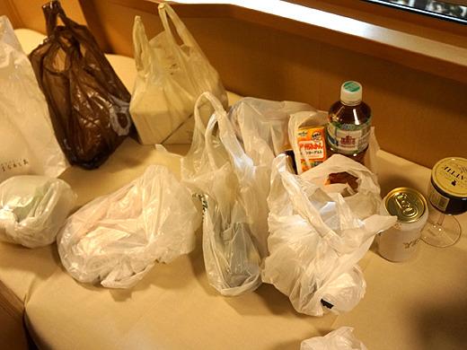 発車までの45分で買いまくった本日の食材。