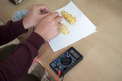 電極を天ぷらに刺してテスターで測定