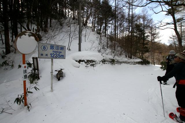 出発から1時間半程で飯田峠(1235メートル)に到着。ここからは下り坂