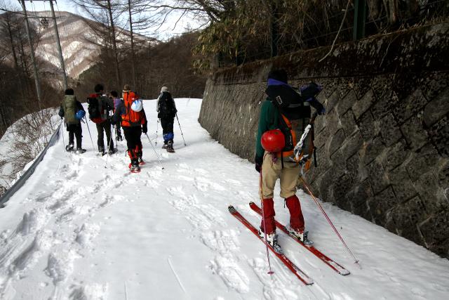 ベテランの方は、スノーシューではなくスキーで滑っていた。楽しそう!
