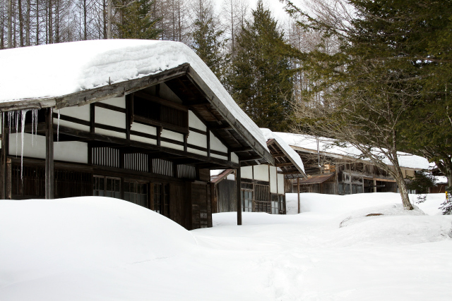 歩いて峠を越えないと見られない、かなり貴重な冬の大平宿である
