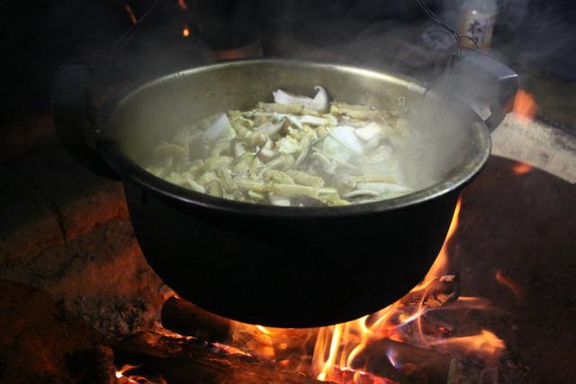 夕食は煮込みうどんを頂いた
