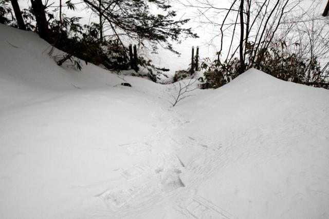 急な石段は雪に埋もれ、ほぼ崖。急勾配でも登れてしまう、スノーシューって凄い