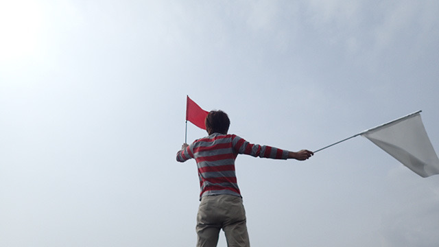 ってこれ、あちらからは見えているのだろうか。虚空に向かって旗を振る。