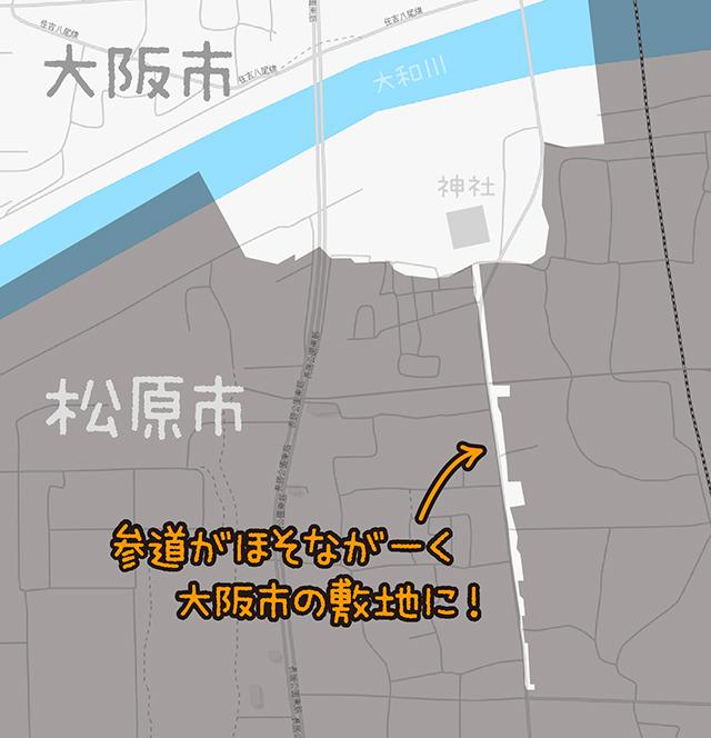 細長い部分の北には神社がある。図解するとこういうことです(OpenStreetMapをキャプチャ・加筆加工/(c)OpenStreetMapへの協力者)