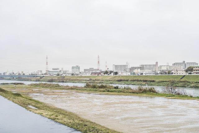 神社の北を東西に流れる大和川。じつはこれ人工の川なのだ。