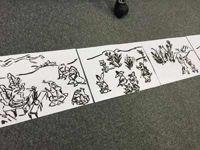 鳥獣戯画、甲巻はウサギやサル、カエルたちが登場。人間さながらユーモラスに遊ぶ姿が描かれる