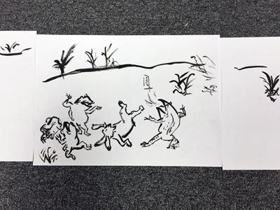 鳥獣戯画の有名なひとコマ。兎と蛙の大相撲。愉快だ