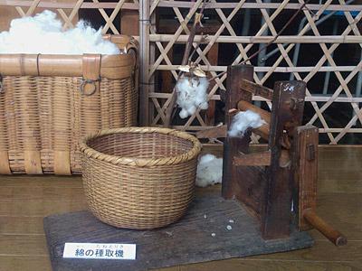 製麺機のルーツとなった綿の種取機。あ、もしかして麺と綿(めん)のつながり?