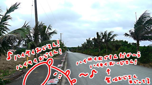 強風のなか進む。寂しさは沖縄メドレーでごまかした