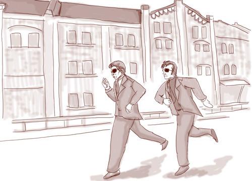 舘ひろしが歌う「冷たい太陽」が流れる中、赤レンガ倉庫前を走る2人 (エンディング再現イラスト:ナリタノゾミ)
