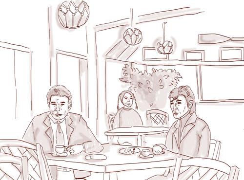 事件解決後、ひと息入れる大下刑事と鷹山刑事(ドラマ再現イラスト:ナリタノゾミ)
