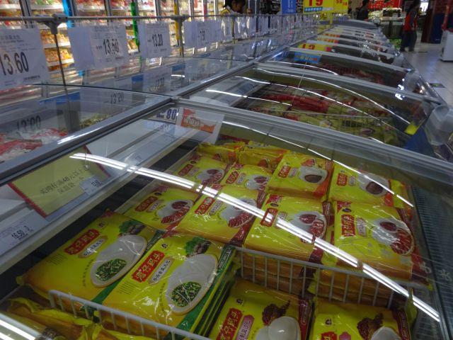 肉まんやあんこの団子(団園)や水餃子などの冷凍食品は、当時あったブランドはなかったけれど、同じモノ、同じあん、同じサイズで倍額。日本円に換算すると5年前の3倍だ。13.5元なら270円に。
