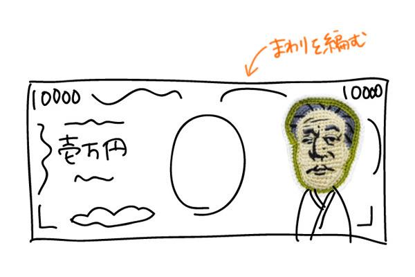顔のまわりにこういうの編めば一万円札になってくれるはず!