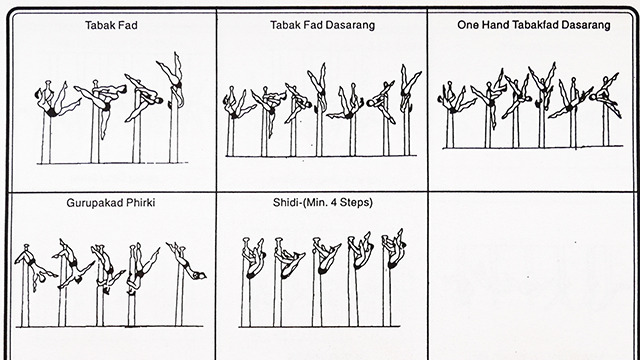 柱でぐるぐるまわる技。なるほど体操競技のようだ