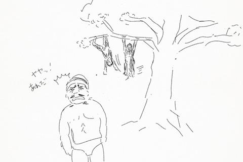 そのあと木を相手にマラカーンブをはじめる