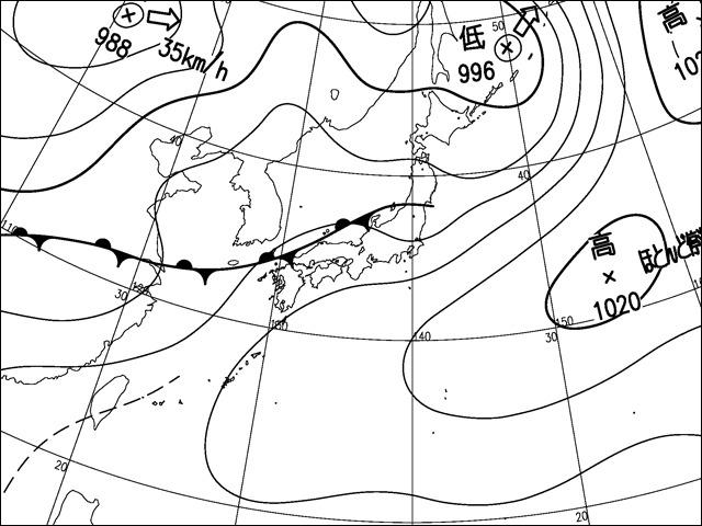 2013年7月6日午後。気象庁天気図