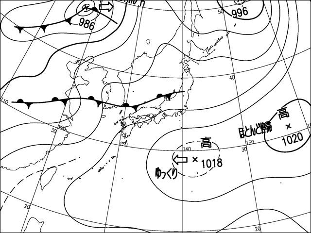 2013年7月7日午前。気象庁天気図