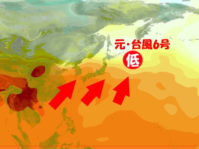 木曜(14日)の上空の気温の様子。赤いほど暑い。台風6号が南から暑い空気を引き上げる。