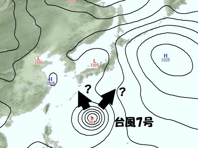 来週火曜(19日)頃の気圧配置。台風7号はどこへ北上するか?